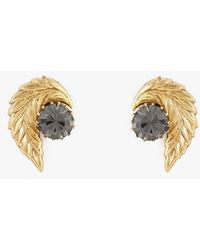 Nicole Romano - Leaf And Crystal Stud Earrings - Lyst