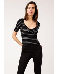 Azalea - Striped Knit Front Tie Crop To - Lyst