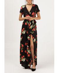 Azalea - Rose Print Maxi Wrap Dress - Lyst