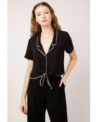 Azalea - Chords Collared Tie Front Top - Lyst