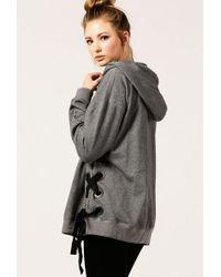 Azalea | Lace Up Side Oversized Hoodie | Lyst
