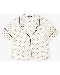 Azalea - Pipe Printed Collar Top - Lyst