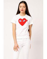 COMME DES GARÇONS PLAY - Women's Double Heart T-shirt - Lyst