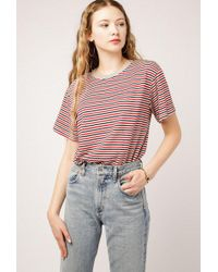 Azalea - Ribbed Collar Stripe Tee - Lyst