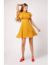 Re:named - Polka Dot Flutter Sleeve Dress - Lyst