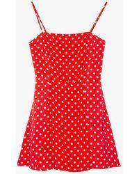 Azalea - Polka Dot Straight Neck Dress - Lyst