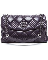 Chanel Pre-Owned Purple Leather In And Out Maxi Flap Bag - Lyst