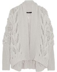 Donna Karan New York Draped Cable-Knit Cashmere Cardigan - Lyst