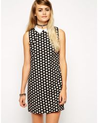 Asos Reclaimed Vintage Collar Shift Dress In Shell Print - Lyst