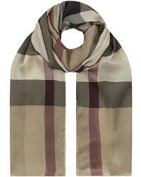 Burberry Check Silk Satin Scarf - Lyst