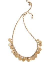 Tory Burch Logo Charm Short Necklace - Worn Gold gold - Lyst