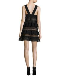 Self-Portrait | Sleeveless Tiered Lace-front Dress | Lyst