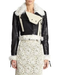 Burberry Prorsum | Shearling-trimmed Cropped Leather Jacket | Lyst