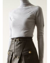 Prabal Gurung Grey Wool Chimney Neck Pullover - Lyst
