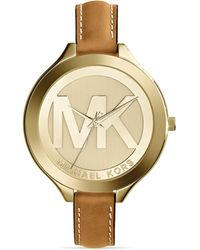 Michael Kors Gold-Tone & Luggage Leather Slim Runway Watch, 42Mm - Lyst