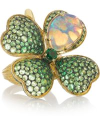 Lydia Courteille - Four Leaf Clover 18-Karat Gold, Opal And Tsavorite Ring - Lyst