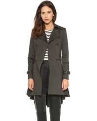 Alice + Olivia Double Breasted Trench Black - Lyst