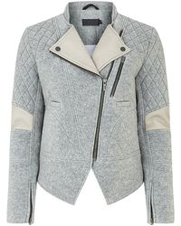 Francis Leon - Leather Detail Biker Jacket - Lyst
