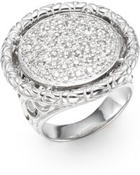John Hardy Naga Diamond 065 Pavé Tcw Diamond  Sterling Silver Round Ring - Lyst