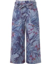 Suno Floral Denim Belted Trousers - Lyst