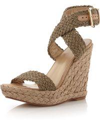 Stuart Weitzman Alex Crochet Wedge Sandal - Lyst
