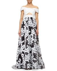 Lela Rose Off-The-Shoulder Floral-Embroidered Cutout Gown - Lyst
