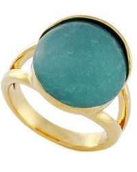 Cole Haan - Semiprecious Stone Ring - Amazonite/ Gold - Lyst