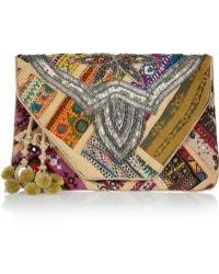 Antik Batik Jango Embroidered Cotton Clutch - Lyst