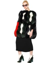 Tsumori Chisato Shearling Cape With Fox And Raccoon Fur - Lyst