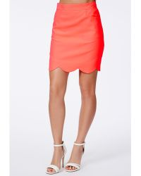 Missguided Viviana Scallop Hem Mini Skirt In Neon Coral - Lyst