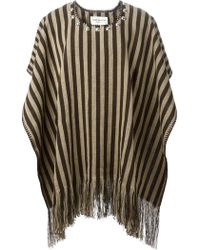 Saint Laurent Brown Striped Poncho - Lyst