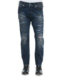 True Religion Dean Relaxed Destroyed Denim Jeans - Lyst
