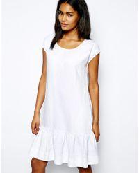 Love Moschino Drop Waist Dress in Brushed Linen - Lyst