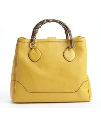 Gucci Dark Yellow Leather Diana Bamboo Handle Tote - Lyst
