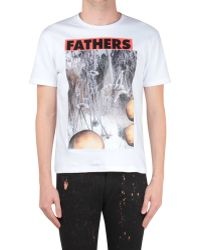 Raf Simons Slim Fit Cotton Tshirt with Fathers Print - Lyst