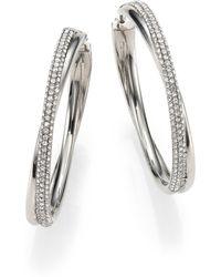Michael Kors Brilliance Statement Pave Crossover Silvertone Hoop Earrings/1.75 - Lyst