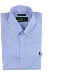 Fred Perry Shirt Stripped Botton Down Slim Stretch blue - Lyst