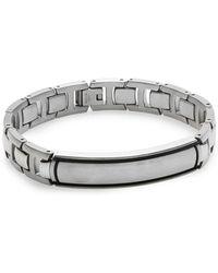 Lotus Stainless Steel  Titanium Link Bracelet - Lyst