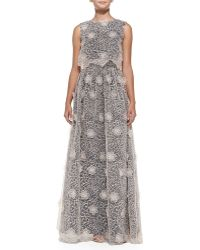 Erin Erin Fetherston Sleeveless Embroidered Lace Gown - Lyst