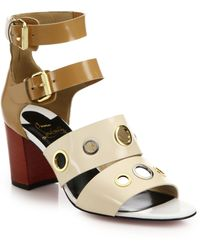 Christian Louboutin Scuba Grommet-Studded Leather Sandals brown - Lyst