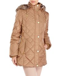 London Fog Faux Fur Trim Quilted Coat - Lyst