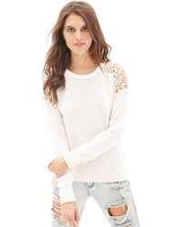 Forever 21 Crochet Cable Knit Sweater - Lyst