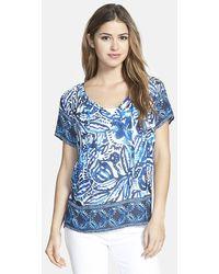 Lucky Brand 'Batik Gardens' Short Sleeve Top - Lyst