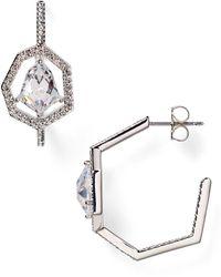 Nadri Crystal Edge Hoop Earrings - Lyst