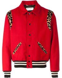 Saint Laurent Red Teddy Jacket - Lyst