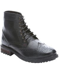 Ben Sherman Black Leather 'Sarge' Lace-Up Wingtip Ankle Boots black - Lyst