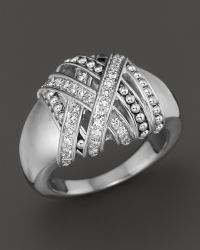 Lagos Sterling Silver Embrace Medium Diamond Wrap Ring - Lyst