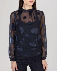 Karen Millen Top - Devore Dot Print - Lyst