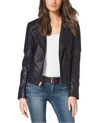 Michael Kors Quilted-Panel Leather Jacket - Lyst