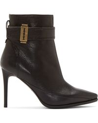 McQ by Alexander McQueen Black Grained Leather Razor Lex Ankle Boots - Lyst
